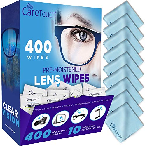 [USAmall] Care Touch Lens Cleaning Wipes with Microfiber Cloths | 400 Lens Cle