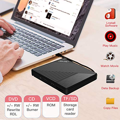 [USAmall] External DVD CD Drive USB3.0 Type C with SD/TF Card Reader Portable