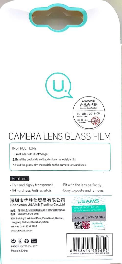 USAMS Samsung Galaxy Note 9 Back Rear Camera Lens Tempered Glass
