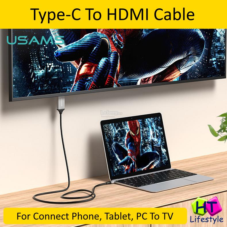 Usams Type-C To HDMI Cable For Mobile,Tablet,Notebook To TV,Projector