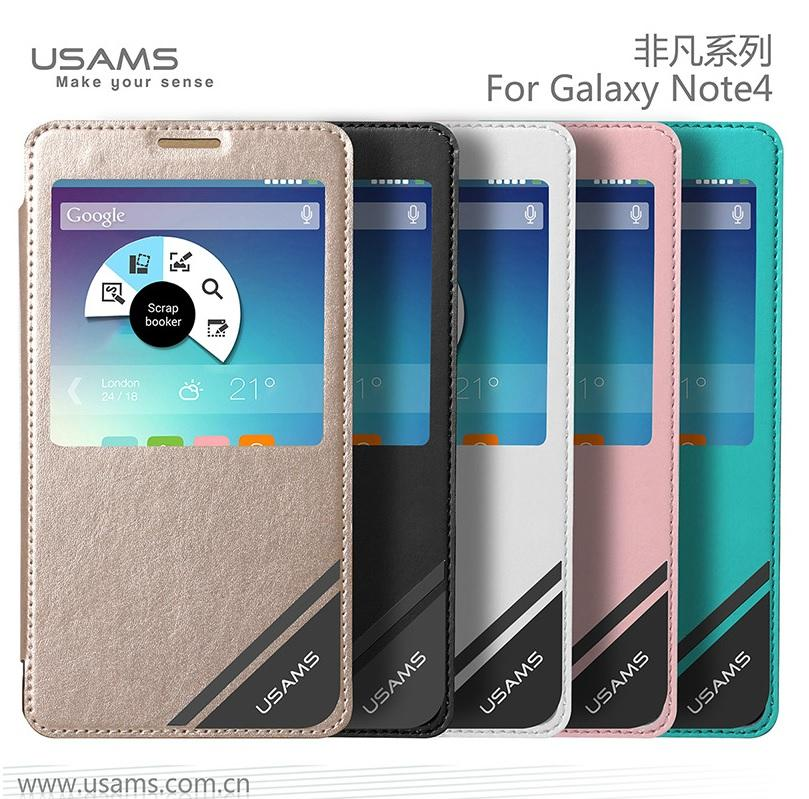 new concept b677b 14d6a Usams VIVA Samsung Galaxy Note 4 S View Leather Case Smart Cover