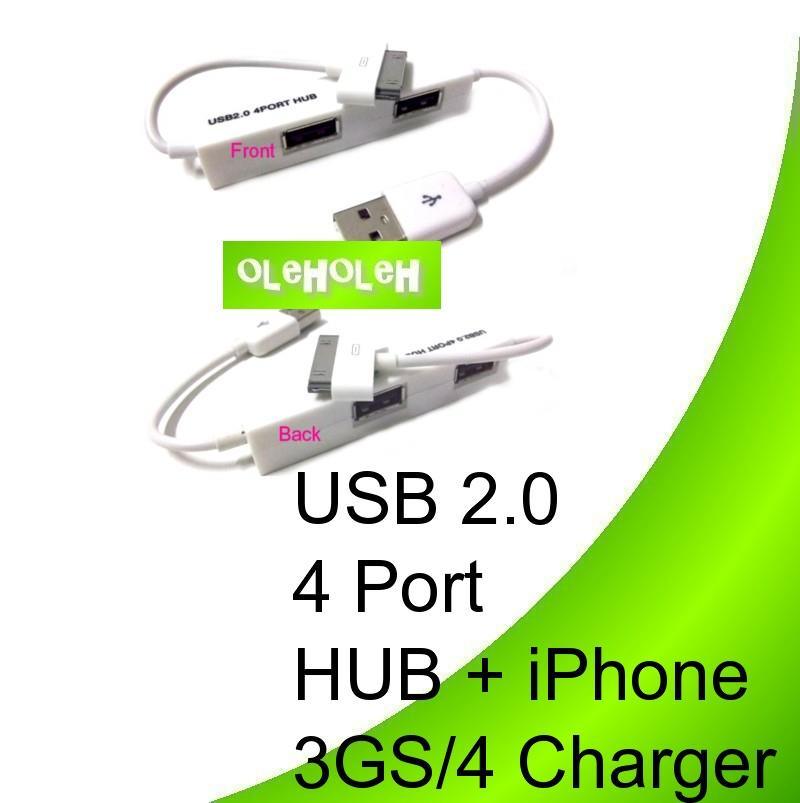USB 2.0 4 Port HUB + iPhone 3GS/4 Charger