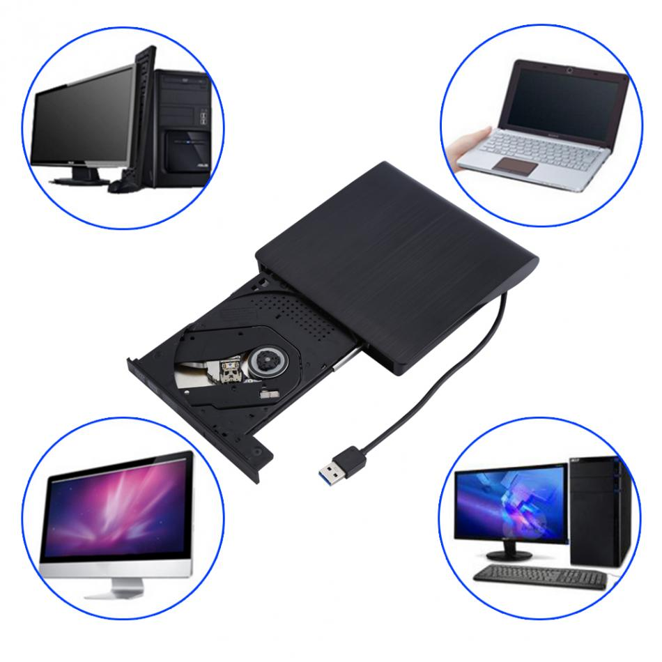 USB 2.0 External DVD/CD Drive Burner Slim Portable Driver For Notebook