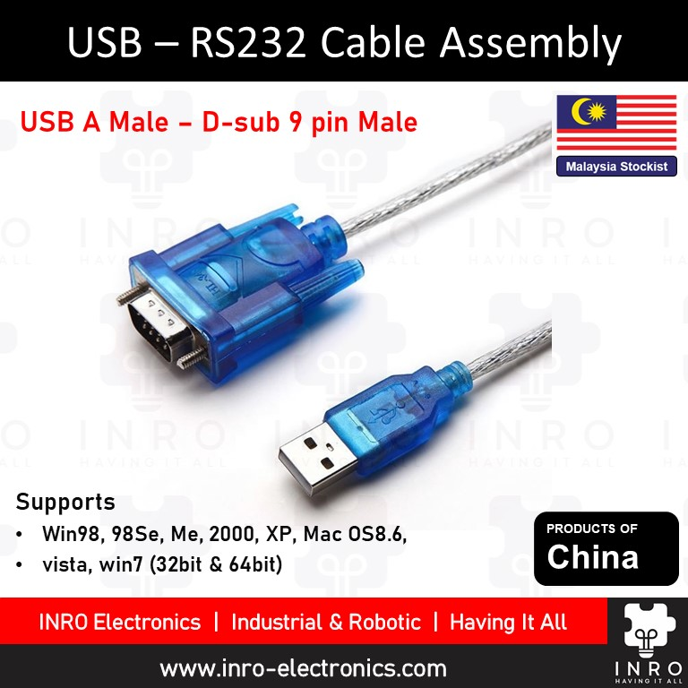 USB 2.0 Male USB A to Male RS232 Cable Assembly, 0.8m