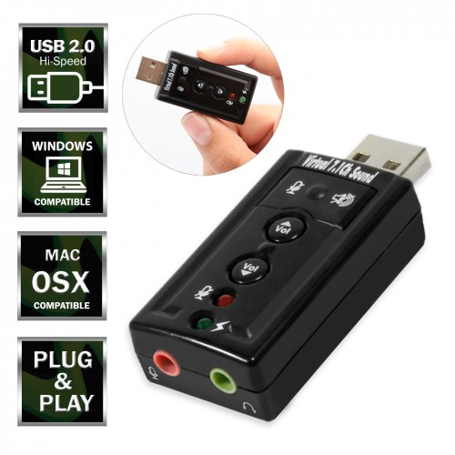USB 2.0 to Virtual 7.1 Channel Audio Sound Card