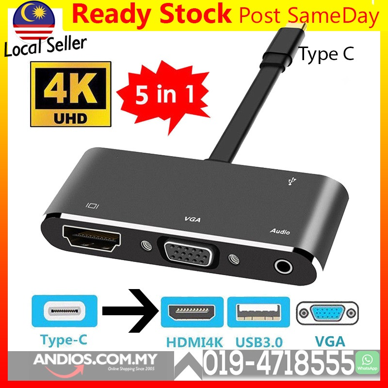 USB 3.1 Type C to HDMI_VGA_ Audio Converter Connector Adapter Cable