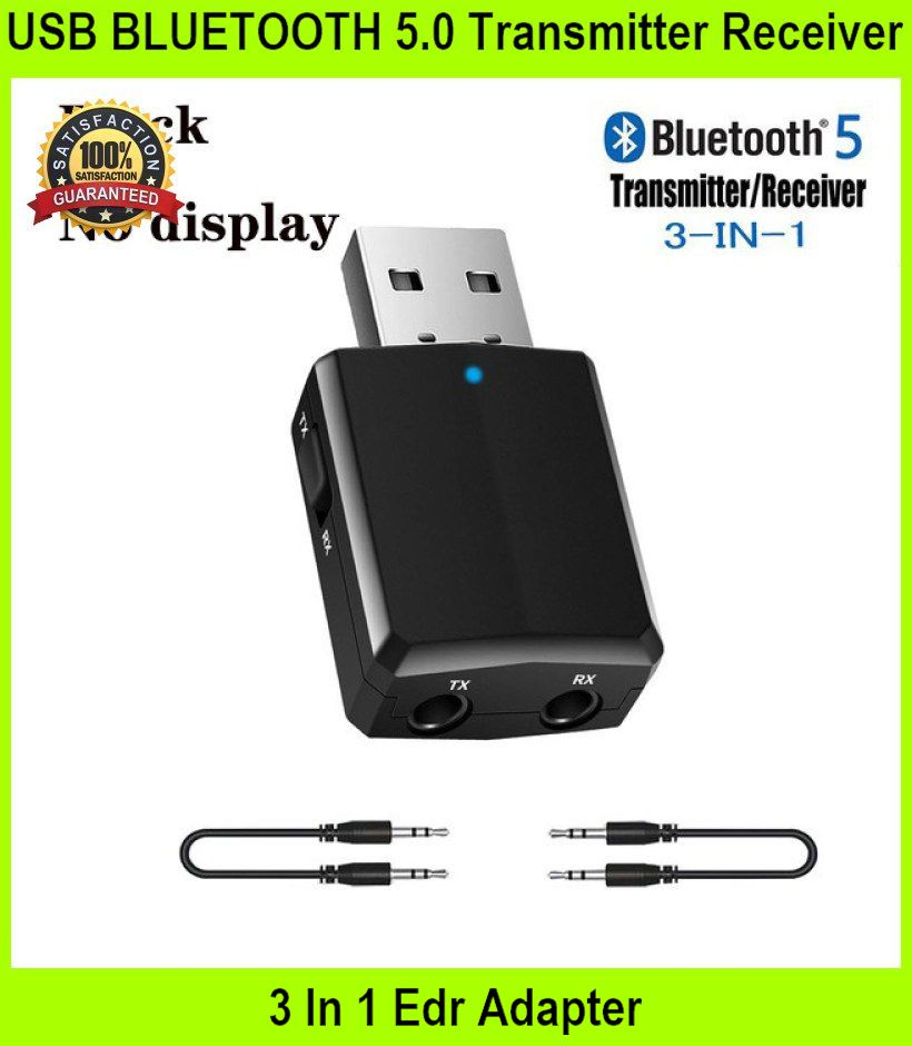 USB BLUETOOTH 5.0 Transmitter Receiver 3 In 1 Edr - [BLACK-NO DISPLAY]