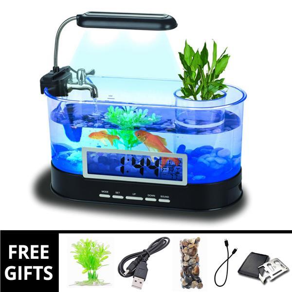 Aquarium Mini Usb Filter Biological Desk Table Led Lamp Watch Office Fish & Aquariums