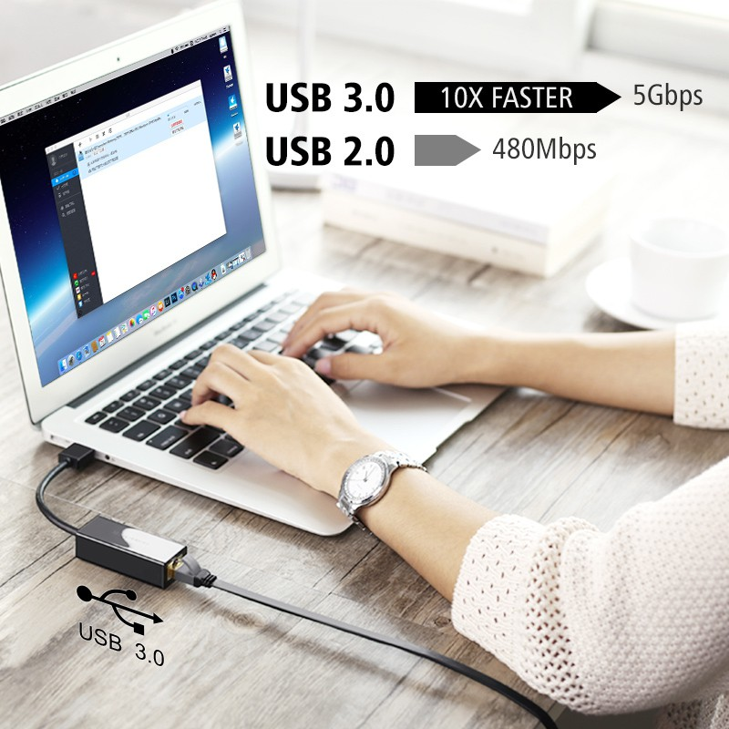 USB Ethernet Adapter USB 3.0 Network Card Supports Ni - [BLACK USB3.0]