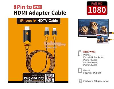 best sneakers ce844 45bf7 USB HDMI HDTV Video Cable For MHL Lightning iPhone X XS iPad IOS12