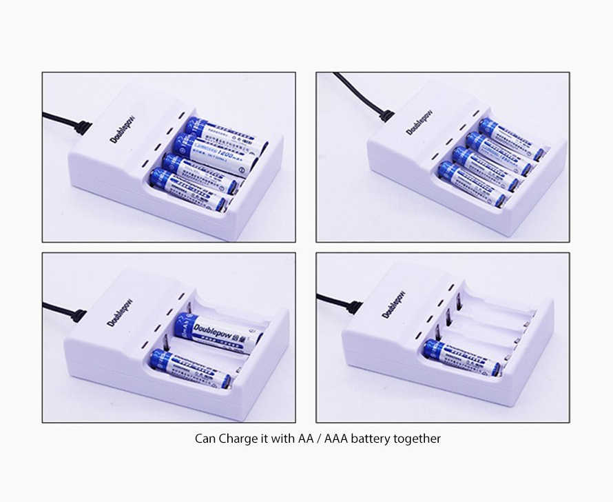 USB Rechargeable 4 Slot AA/AAA Batteries Charger Power Adapter