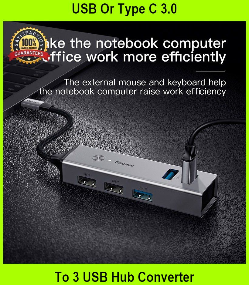 USB Or Type C 3.0 To 3 USB Hub Converter Adapter C - [USB TO USB,GRAY]