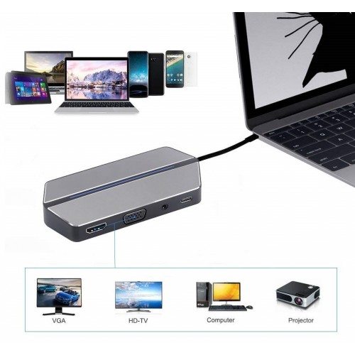 USB Type C Hub 8-in-1 Type C Hub Converter HDMI Adapter with USB 3.0