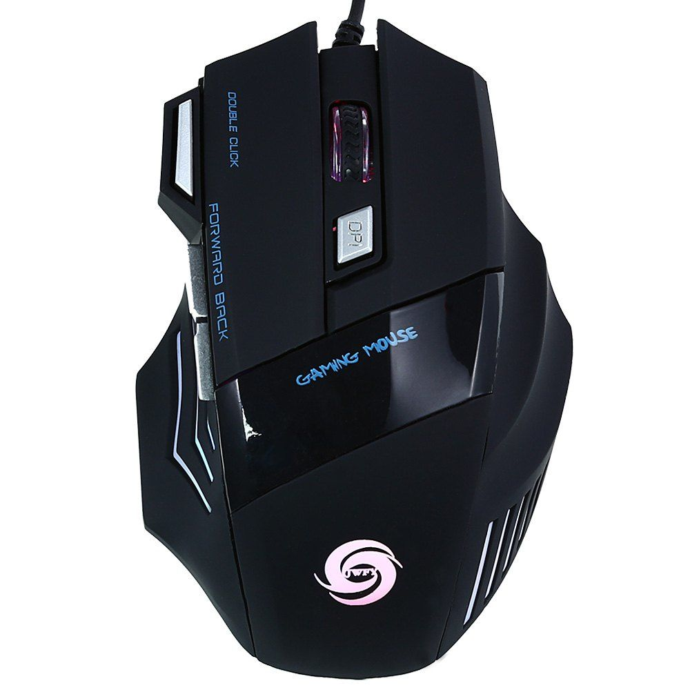 USB WIRED LED OPTICAL GAMING MOUSE 5500DPI RESOLUTION WITH SEVEN BUTTONS 1.5M
