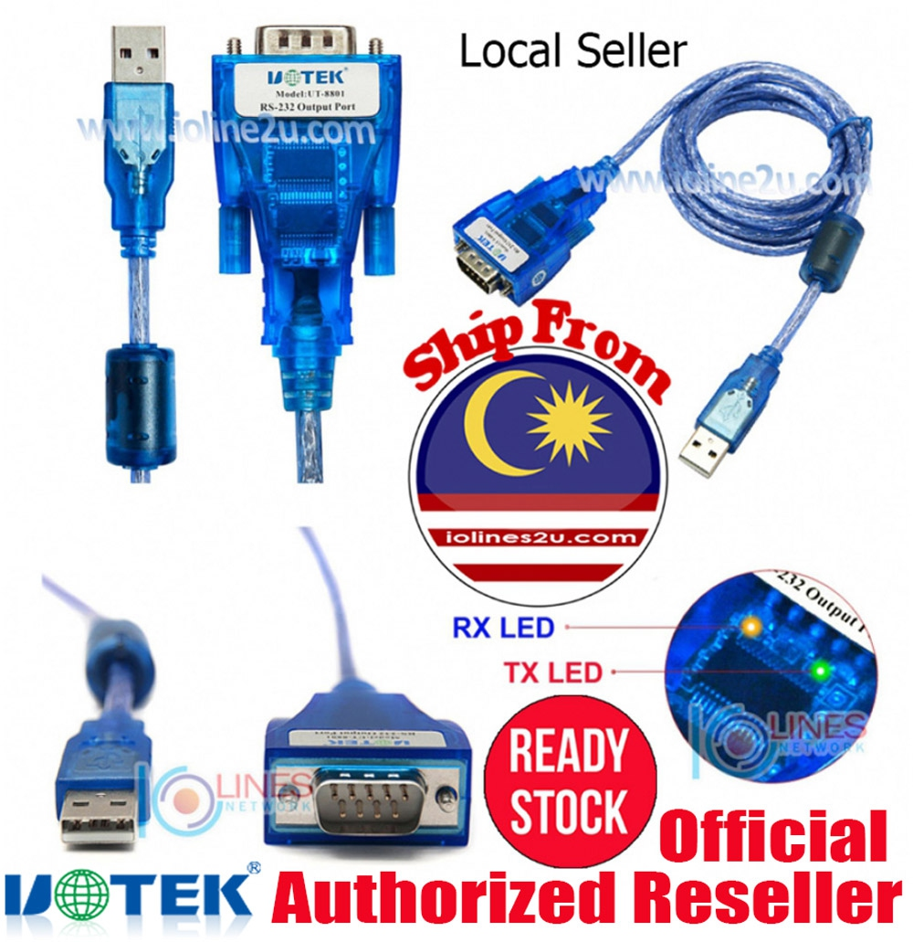 UTEK UT-8801 FTDI FT232 USB to Serial RS232 DB9 Converter Win XP/7/8/10 Indust