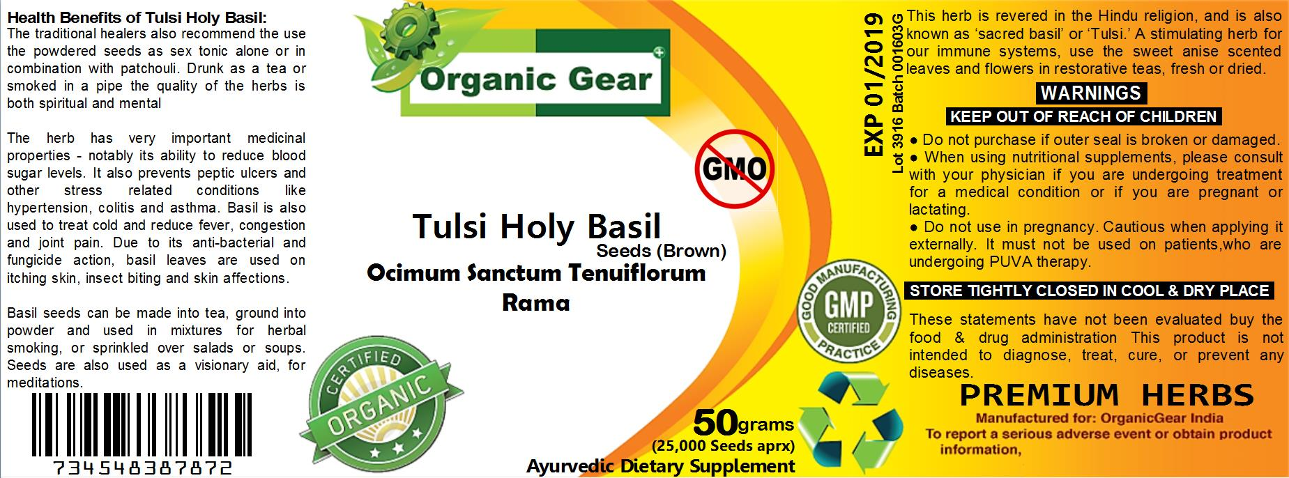 UYO38 50g (25000+ Seeds Aprx) Organic Gear Tulsi Brown Holy Basil Ocim