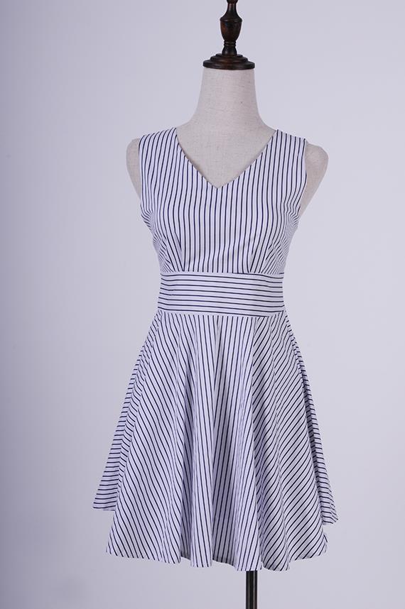 3399bdb8b8fc9 V front & V back Skater Dress with Striped Detail