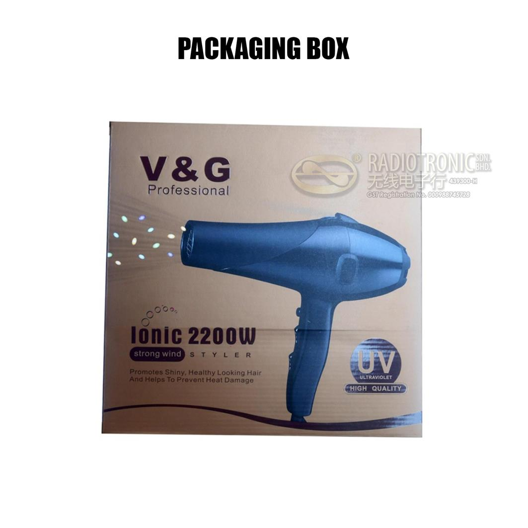 V&G PROFESSIONAL IONIC STRONG WIND HAIR DRYER 2200W (V-9821) SML18-97