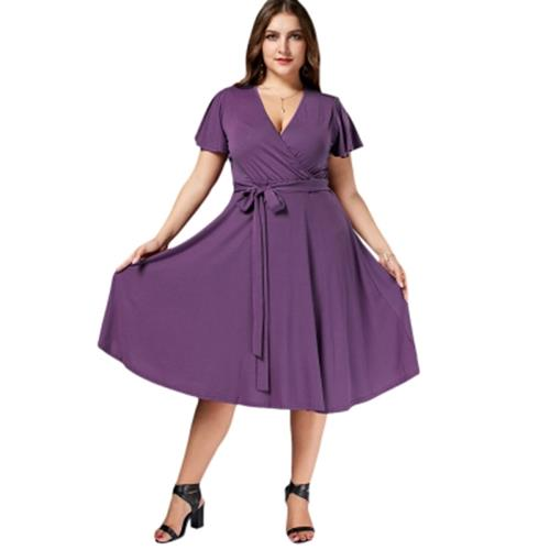 6c3a9aacc6 V NECK BELTED PLUS SIZE MIDI DRESS ( (end 9 18 2020 8 38 PM)