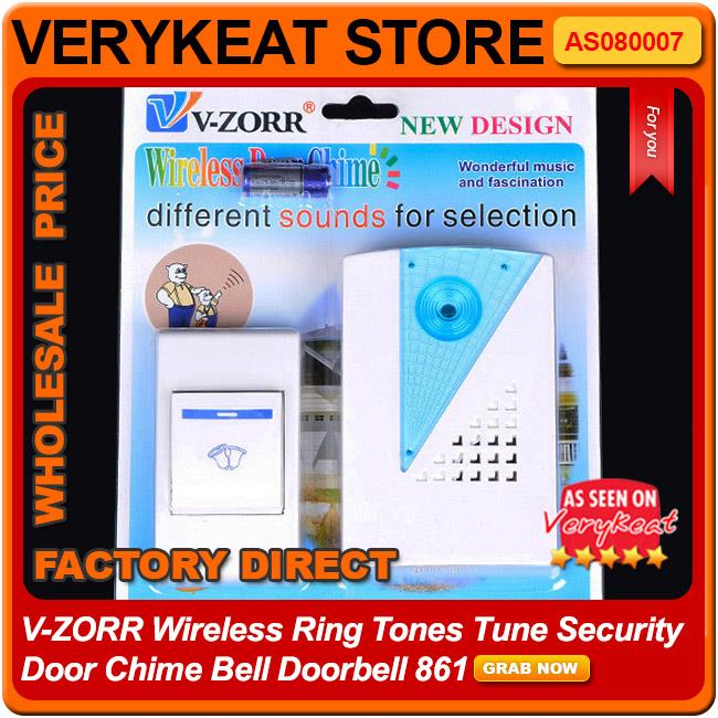 V-ZORR Wireless Ring Tones Tune Security Door Chime Bell Doorbell 9682
