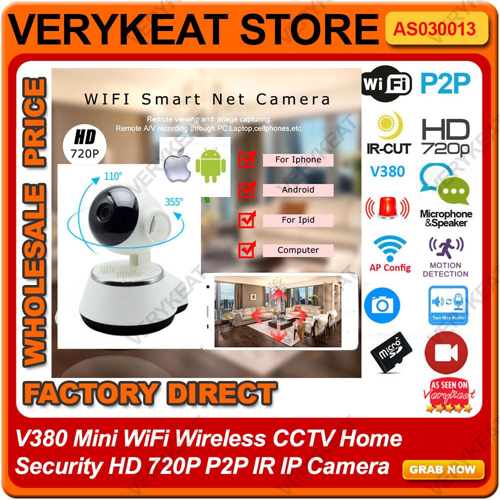 V380 Mini WiFi Wireless CCTV Home Security HD 720P P2P IR IP Camera