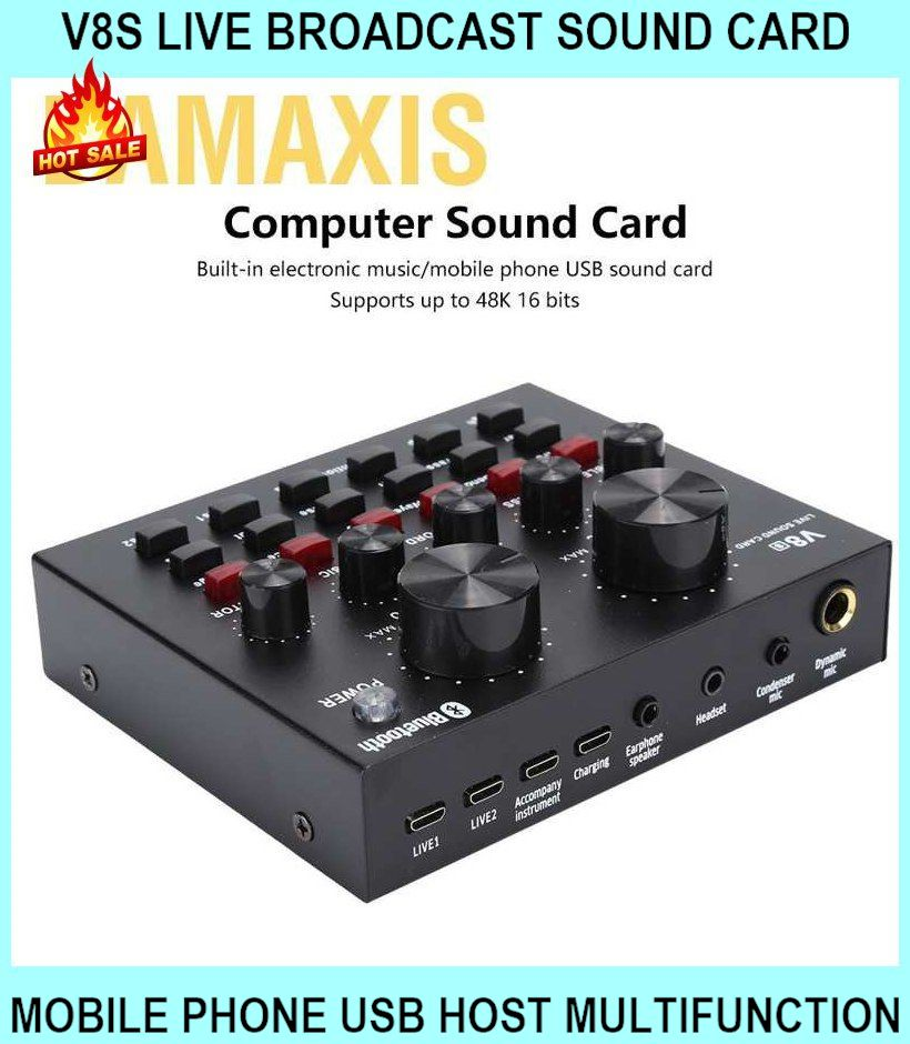 V8s Live Broadcast Sound Card Mobile Phone USB Host Multifunction Comp