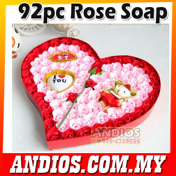 Valentines day-Premium Rose Flower Soap Set with Bear-Love 2017