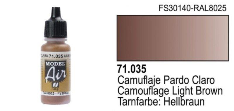 Vallejo Paint - Model Air 71035 Camouflage Light Brown (17ml)
