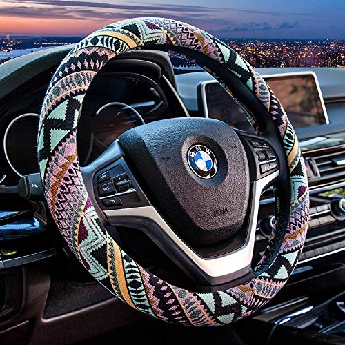 Valleycomfy Maya Universal 15 inch Steering Wheel Covers with Cloth for Women-