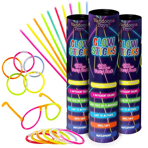 "VANDOONA 300pk Glow Sticks Bulk Party Favors Supplies Fun Pack | 8 "" Glow"