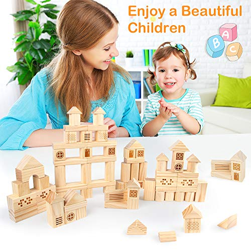 VATOS Solid Pine Wooden Building Block Set for Kids, 75PCS Stacking Wooden Bui