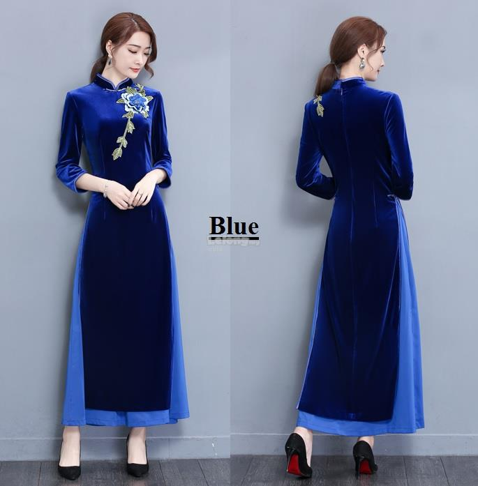 Velvet Vietnamese Cheongsam for women