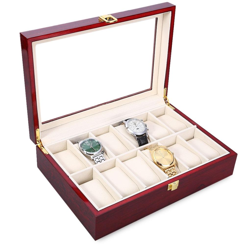 VERMILION 12 Slots Wood Watch Display Case Watches Box Glass Top Jewel..