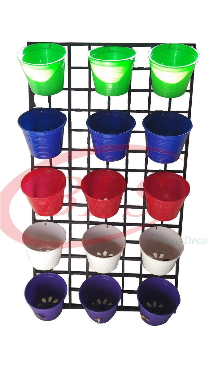 VERTICAL GARDEN PLASTIC POTS WITH HOLDER   5 COLORS MIX