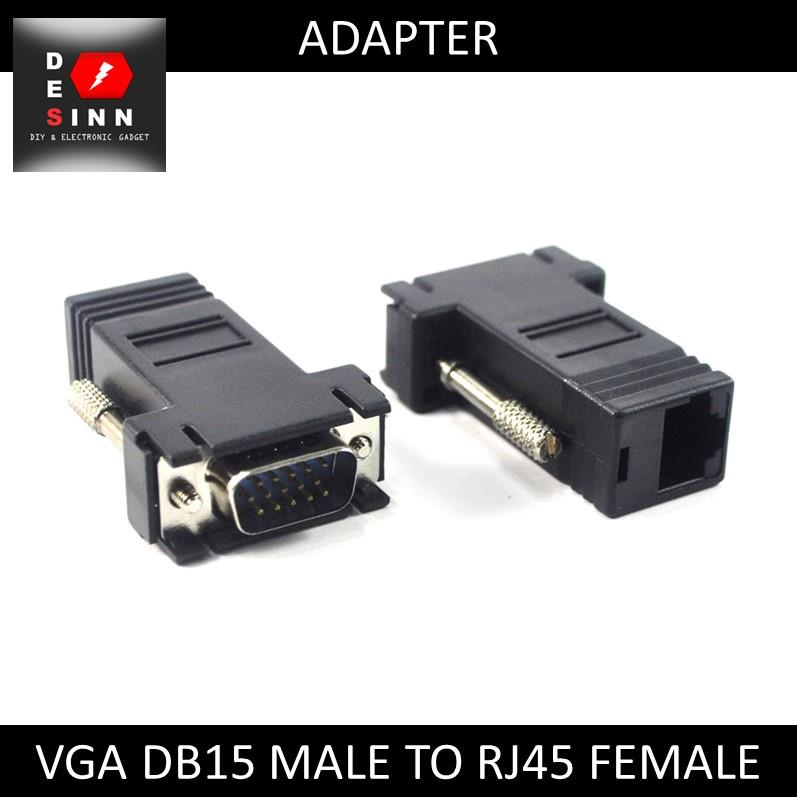VGA DB15 to LAN RJ45 Video Extender Adapter Converter /pc