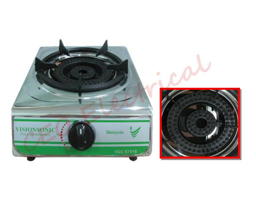 VGC-S701F VISIONSONIC S/S SINGLE BURNER GAS STOVE