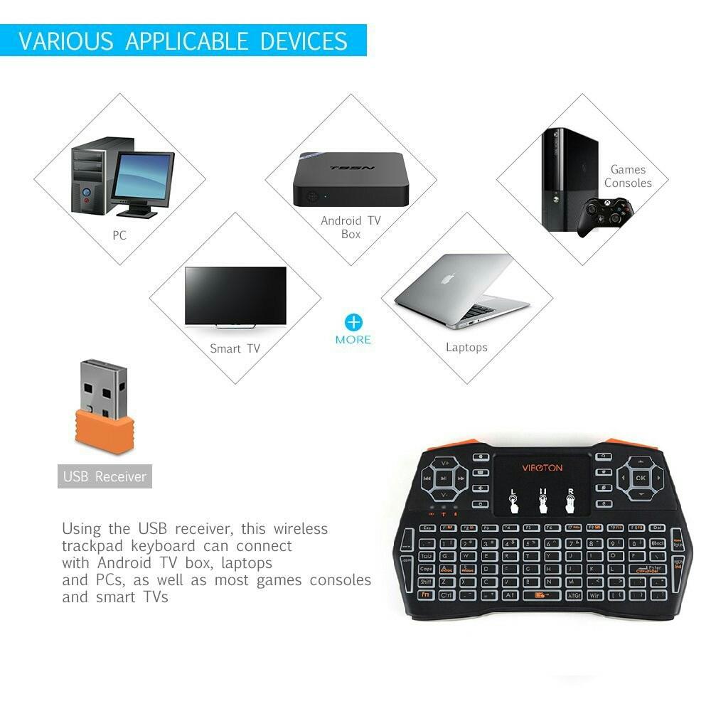 VIBOTON i8 Plus 2 4GHz LED Backlight Mini Wireless Keyboard Air Mouse