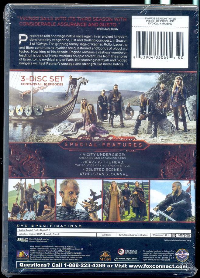 Vikings The Complete Third Season - New DVD