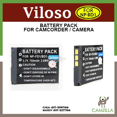 Viloso NP-BD1/FD1 OEM Battery for Sony DSC-T2, T200, T300, T500