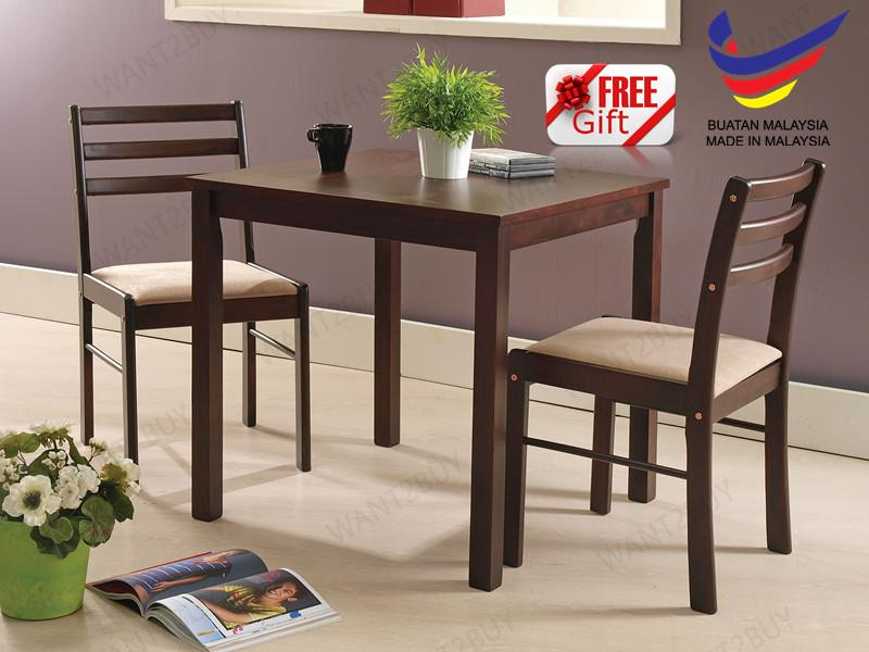 VINCENT 2 Cushion Chair Square Table Solid Wood Dining Set Meja Makan