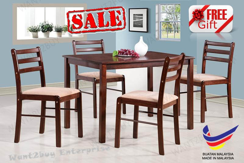 VINCENT 4Cushion Chair +1Square Table Solid Wood Dining Set Meja Makan
