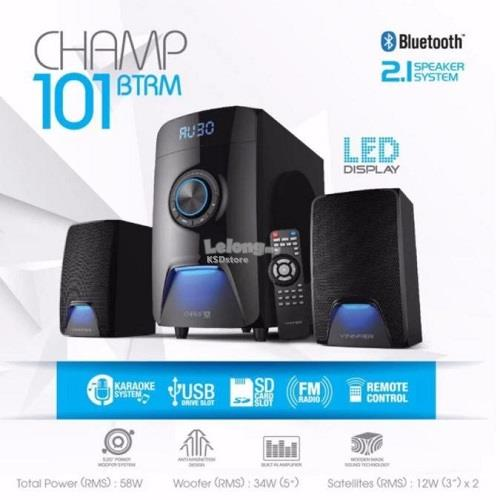 Vinnfier Champ 101 BTRM 2.1 Multimedia Speaker | Bluetooth | SD Card |