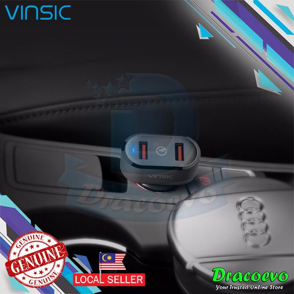 Vinsic 36W Quick Charge Car Charger Dual USB Ports Qualcomm 3.0