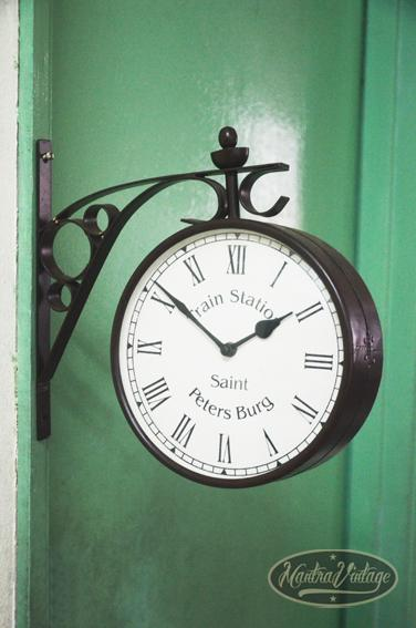 vine antique double sided train station hanging wall clock