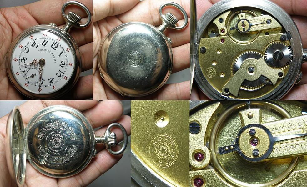 Vintage big Roskopf Patent nickel case pocket watch - Mint condition