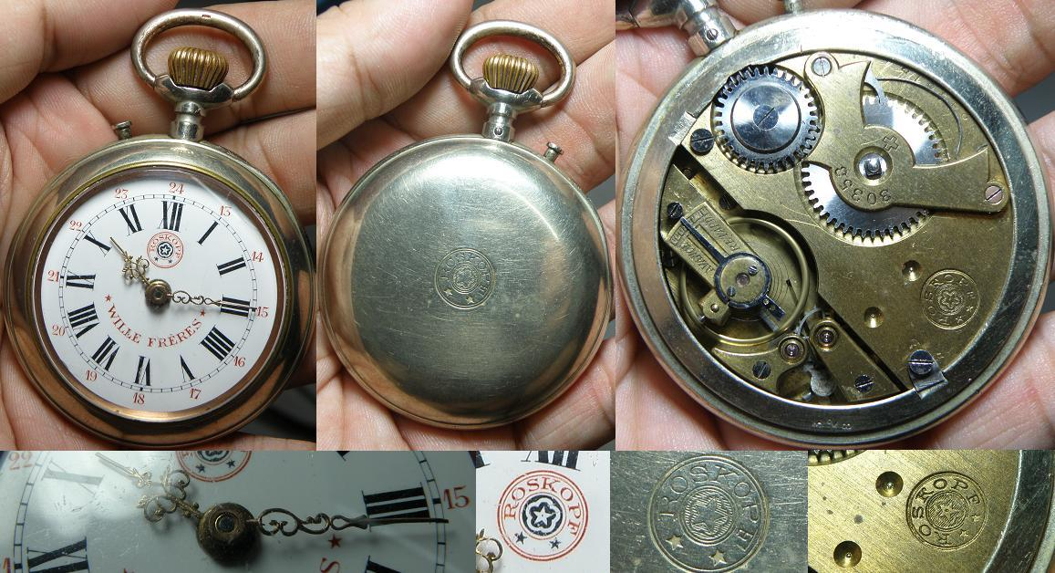 Vintage big Swiss made Roskopf 'WILLE FRERES' 30353 pocket watch