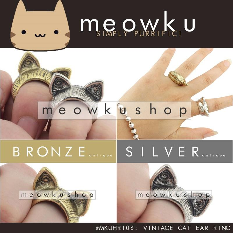 Vintage Cat Ear Ring (Elegant Woman Girl Jewellery Gift Cincin Kucing)