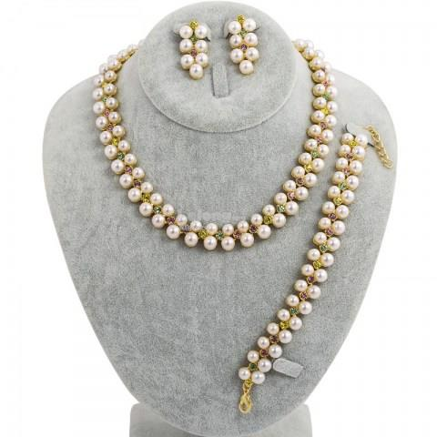 Vintage Chunky Choker Pearl Necklace Set