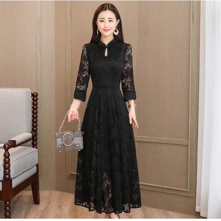 2a74125452110 Vintage Design Women Lady Ankle Length Lace Dress