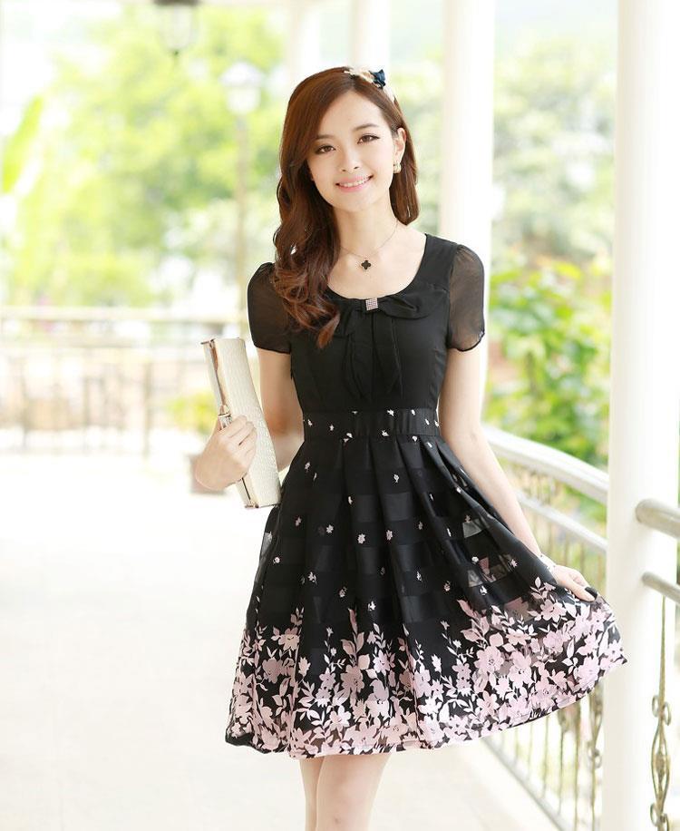 Vintage Doll Bow Collar Fl Midi Dress Office Wear Plus Size